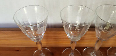 "6 Small 5 3/4"" Depression Glass Stemware Wine Brandy Glasses Etched Beautiful"