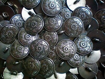 18mm 28L Antique Silver Effect Flower Metal Shank Costume Jacket Buttons (XM48)