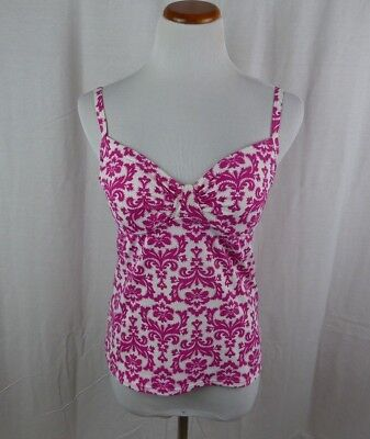 c507f6aba31d6 Lands End Women's Size 4 Pink/White Tankini Top Swim Suit Adjustable Straps