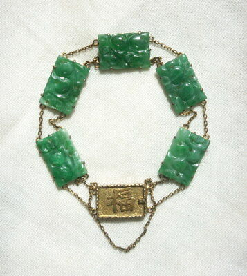 Antique Chinese Jadeite Jade Bracelet, 9K Gold