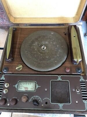 Vintage 1940s Cromwell Portable Record Cutting Lathe~Radio Mic PA 33&78