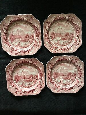 4 Johnson Brothers Historic America The Capital Plates England (red)