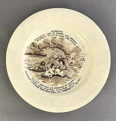 Antique Staffordshire ABC Plate PAIR August Children Wheat