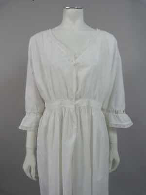 Antique Victorian /  Edwardian nightdress gown with lace trim - UK 10, 12, 14