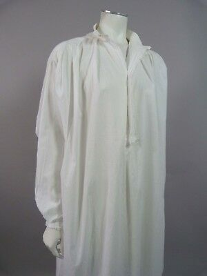 Antique Victorian nightdress gown with embroidered collar - UK 14, 16, 18