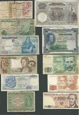 Europa , Portugal , Spain , Greece Others  11 Banknotes Circulated