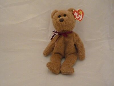 1996 Ty Original Beanie Babies CURLY Brown Bear Red Ribbon w/Tags  (9 inch)