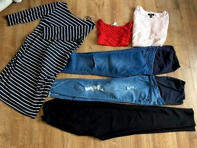 Maternity bundle Size 8-10 Inc Ripped Skinny Jeans Tops And Dress/tunic 6 Items