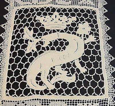 Antique Lace Placemats Handmade Set of 6 Figural Dragon Crown Needle Filet Table