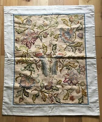 Superb Old Vintage Antique Crewel? Work Chinese Embroidery Embroidered Panel