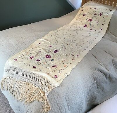 Vintage Chinese Cantonese Macrame Silk Embroidered Ivory Shawl Scarf For Salvage