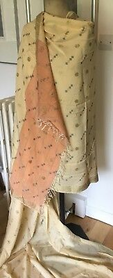 Vintage Peach Pink Embroidered Silk Chinese Sherpa Dress Scarf Fabric 4.2m Long