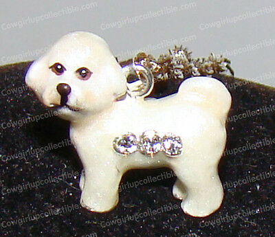 BICHON FRISE Bejeweled Enamel Charm (Pedigree Dog Pendent, 3933bn) Silver Chain