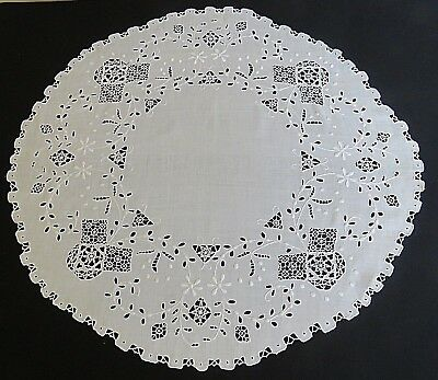 """Antique Linen Tablecloth 28"""" Table Cover Topper Hand Made Reticella Needle Lace"""