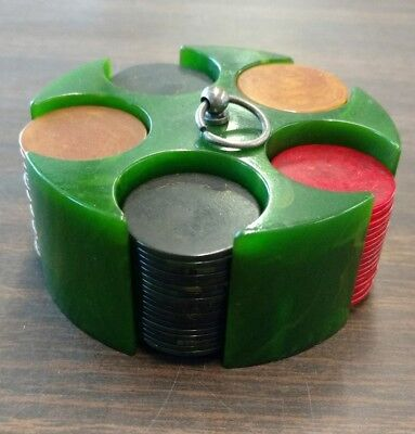 Vintage Green Mini Bakelite 5-stack Poker Caddy Set with 92 Chips