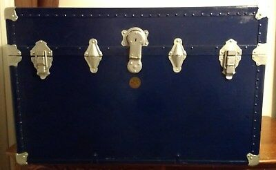H. W. Rountree & Bro Roller Tray Trunk with Original Key Antique