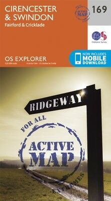 OS Explorer Map Active (169) Cirencester and Swindon Fairford and C...