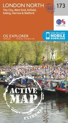 OS Explorer Map Active (173) London North The City West End Enfield...