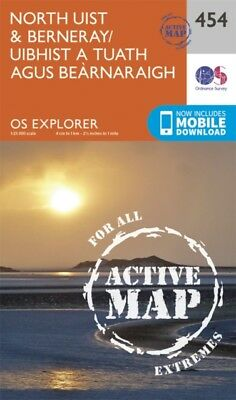 OS Explorer Map Active (454) North Uist and Berneray/Uibhist a Tuat...