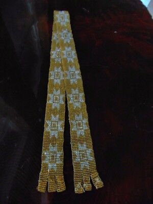 "Antique Rare Gold & Iridescent Glass Beaded Tribal Ceremonial 27 1/2"" L. x 1 1/4"
