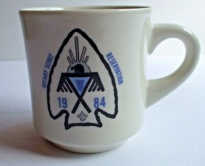 Boy Scouts BSA Rotary Scout Reservation 1984 Coffee Cup Mug Arrowhead Totem