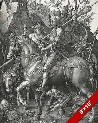 "Albrecht Durer Knight & Death Devil Painting 8""x10"" Real Canvas Fine Art Print"