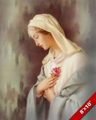 Beautiful Blessed Virgin Mary Catholic Mystical Rose 8X10 Real Canvas Art Print