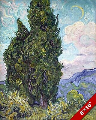 Vincent Van Gogh Cypress Trees Landscape Painting 8X10 Real Canvas Art Print