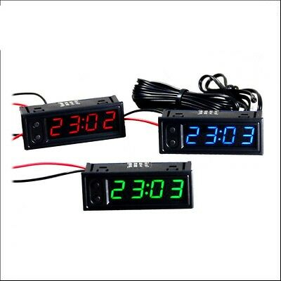 Digital led Electronic clock indoor outdoor Dual thermometer voltmeter 12v car