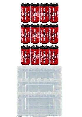 12x Surefire CR123A Lithium Batteries 3v EXP. 11/2027 *MADE IN USA* + 3 Case