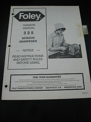 Foley Belsaw Model 325 Scissor Sharpener Manual