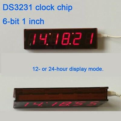 6-bit 1 inch digital led tube clock time display hour minute seconds  diy case