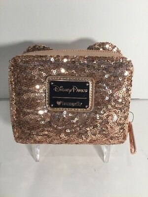 Disney Parks Rose Gold Loungefly Minnie Mouse Wallet Rose Gold Minnie Mouse New