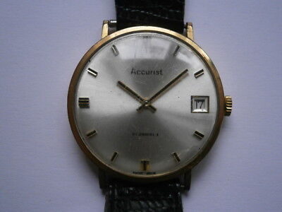 Vintage gents wristwatch ACCURIST mechanical watch working PESEUX swiss made
