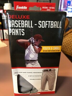 Franklin Deluxe Baseball Youth Large Free Shipping Softball Pants White Size