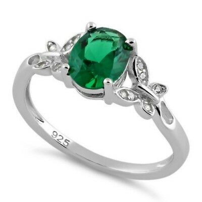 Melchior Jewellery Sterling Silver Double Butterfly EMERALD Center Stone CZ Ring