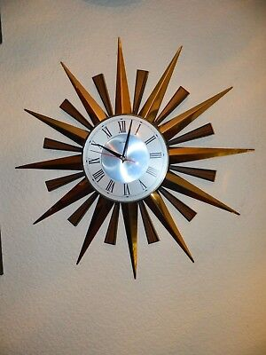 Metamec Vintage Sunburst Wall Clock New Movement Fitted