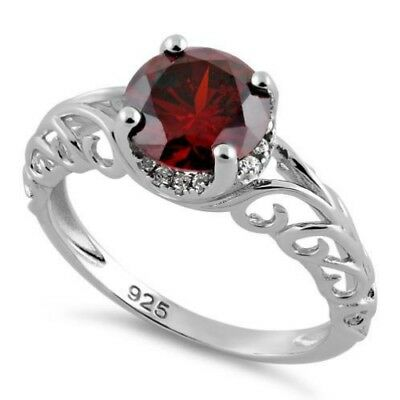Melchior Jewellery Sterling Silver Swirl Design GARNET and Clear CZ Ring Boxed
