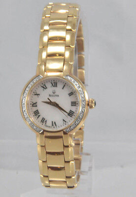 Ladies Bulova 98R156 Gold Tone Stainless Steel Diamond Accented MOP Dial Watch