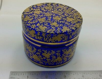 Antique Cobalt Glass Moser Bohemian Enamel Painted Leaves Powder Vanity Jar