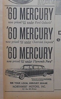 1960 newspaper ad for Mercury - '60 Mercury, priced under other cars