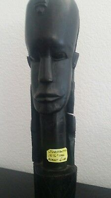 "Large 15 1/4"" Tall Solid Wood Carved African Tribal Warrior 6 lbs Antique."