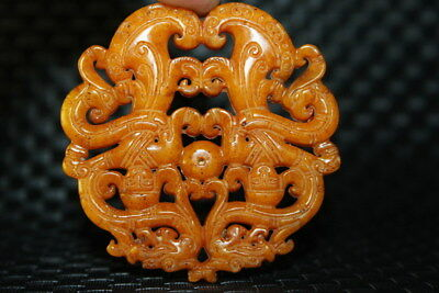 Chinese Exquisite Handwork Jade Carved Dragon Decorative Pattern Noble Pendant