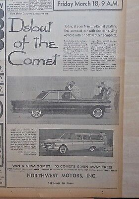 1960 newspaper ad for Mercury - 1960 Debut of the Comet, Comet station wagon