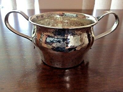The Merrill Shops Sterling Silver Hand Hammered Open Sugar Bowl 1500A