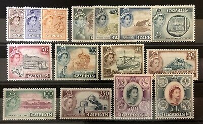 1955 Cyprus QEII set complete  MH. SG 173-187. Sc 173-182 All excellent.