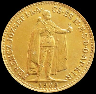 1909 Gold Hungary 10 Korona Emperor Franz Joseph 1 Coin About Uncirculated