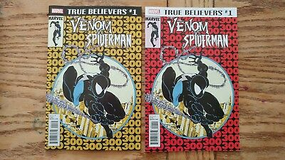 True Believers Venom Vs Spider-Man #1  1St & 2Nd Print Combo Nmt Marvel 2018