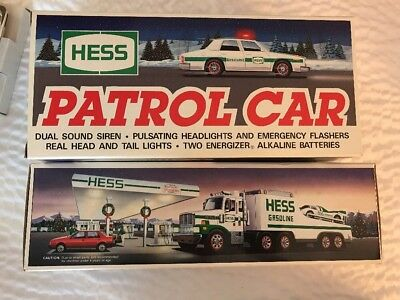 """1988 HESS """"TOY TRUCK and RACER"""" & 1993 PATROL CAR BOTH MINT NEVER USED"""