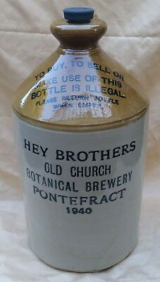 Vtg 1940 Hey Brothers Old Church Whiskey Stoneware Jug Pontefract